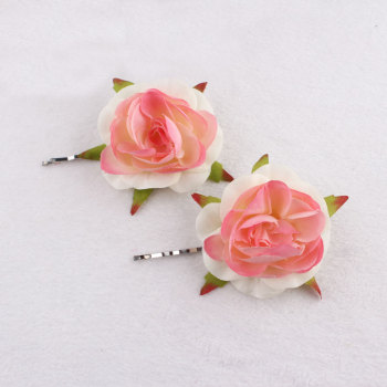 Unique items coral peach silk flower bobby pins China factory