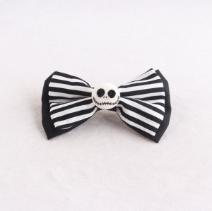 Scary Halloween/Easter boutique skull striped bow banana hair clip Halloween accessories