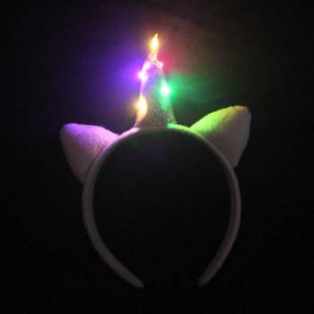 Children Halloween/Easter accessory white faux fur colors led lights up unicorn hair band