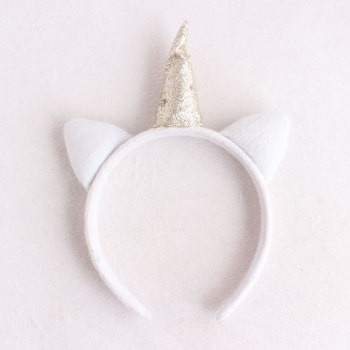 Halloween/Easter accessory white faux fur colors led lights up unicorn hair band