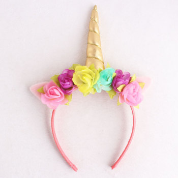 Wholesale Halloween/Easter pink rose floral leather unique gold unicorn hair band