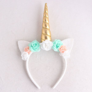 Deluxe popular festival hair accessory white rose flower unicorn hair band