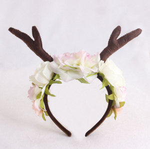 Faun festival deer rose flower crown forest fawn deer antler floral headband