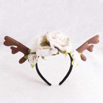 Forest fawn deer antler floral headband faun deer rose flower head crown