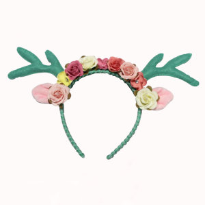 Woodland  fairy pixie antler floral headband Easter green deer antler crown headband
