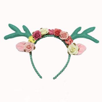 Woodland  fairy pixie antler floral headband Easter green deer antler crown headband