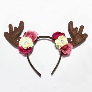Fawn Ears Reindeer Headband Bambi Antler and Flower Deer Headband Halloween Easter