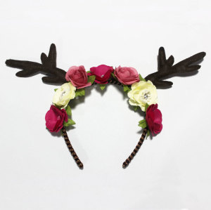 Handmade deer antler crown headband faun deer rose flower Halloween headpiece
