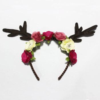 Handmade deer antler crown headband faun deer rose flower Halloween headpiece