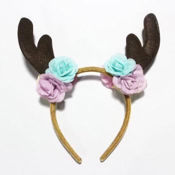 Fawn Bambi Antler With Flower Deer Headband Rose Festival Hair Band