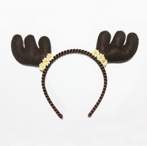 Halloween Dark Brown Bambi Head Piece Felt Deer Antlers And Ears Headband