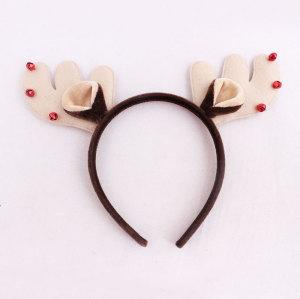 Red Tinkle Bell Reindeer Head Piece Velvet Deer Antlers Headband Christmas