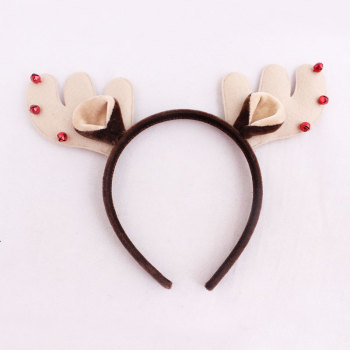 Red Tinkle Bell Reindeer Head Piece Velvet Deer Antlers Headband Christmas