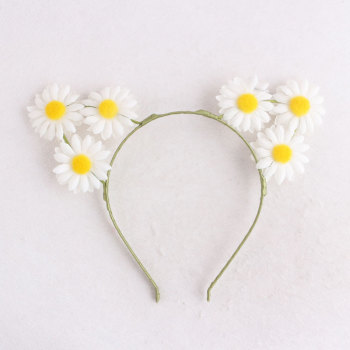 Party festival white daisy cat ear flower headband floral ear crown