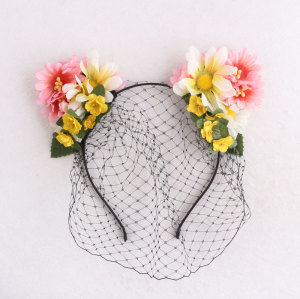 Party fascinator birdcage veil cat ear flower headband  face veil floral headpiece