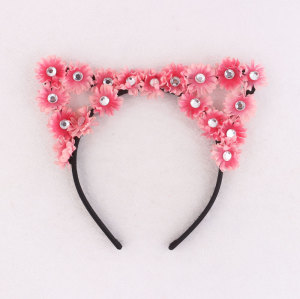 Pink/coral daisy cat ear flower headband floral party festival hair accessories