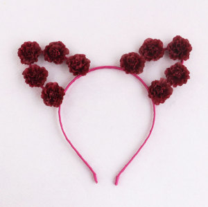 Wine red best daisy Flower cat ears headband holiday hair accessory