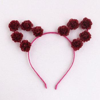 Wine red best daisy Flower cat ears headband holiday hair accessory