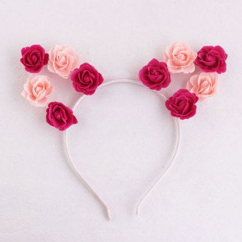 Girl rose flower piece cat ears flower headband for birthday party