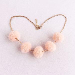 Charm girl pink chain sew pom pom necklace wholesale