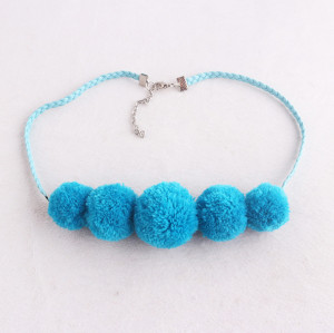 Sew jewelry accessory braided blue pom pom necklace factory wholesale