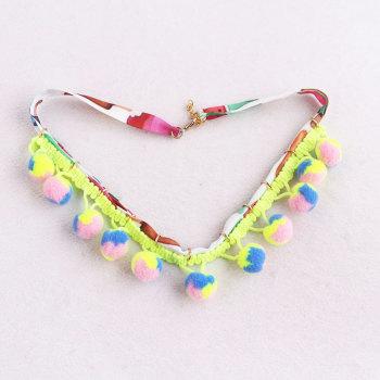 Hot sale rope fiesta pom pom chain necklace jewelry in china