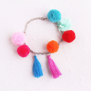 Unique Multi-Colored Boho Tassels Pom Pom Chain Bracelet supplier
