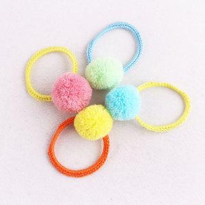 Bohemian crochet candy color pom pom hair ties yarn pom-pom bracelet wrist bun