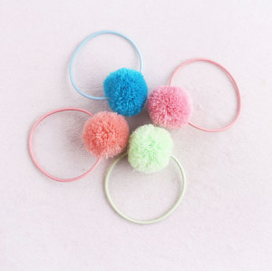 Colors girls yarn elastic pom pom hair ties rope ponytail holder hair accessory