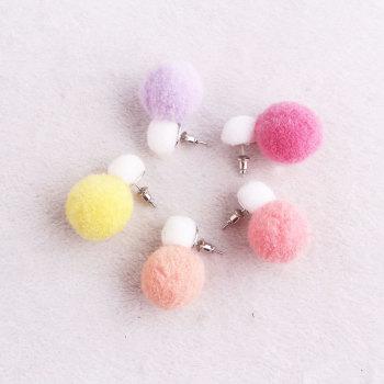 Pretty candy color pom pom earring screw back double pom-pom stud earrings