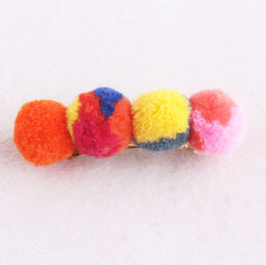 Orange colourful girl sew pom pom banana hair clip