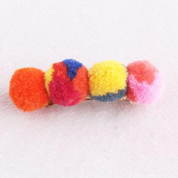 Orange colourful girl sew pom pom banana hair clip