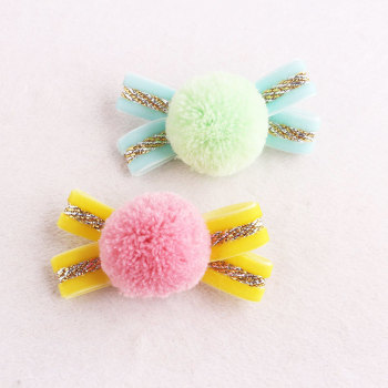 Lovely sweet hair pin girl bow candy yarn pom pom hair clip