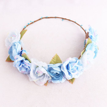 Women romantic blue rose floral crown china wholesale