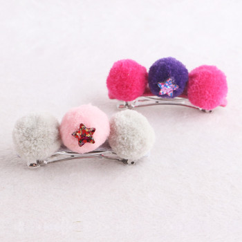 Colourful sew pom pom banana hair clip with glitter star for girls
