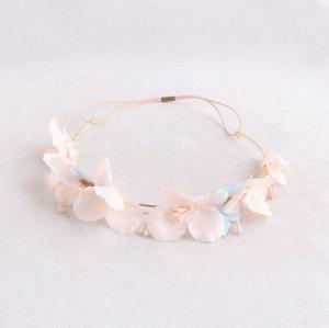 Spring/summer children pink flower crown headband gold metal wreath