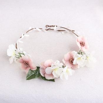 Garden wedding rose floral wreath bridal flower headpiece in china