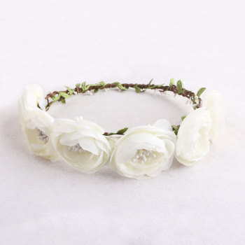 Forest wedding bridal hair accessory white rose floral garland
