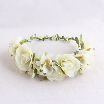 Forest garden  girl's head bridal  white rose floral wreath headband