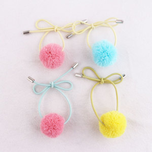 Adjustable colour elastic yarn Pom Pom hair tie band for girl