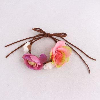 Wedding party flower adjustable bracelet bowknot rose flower wrist corsage