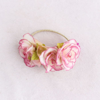 Children silk rose flower hair tie ring bridemaide wrist corsages OEM wedding flower girl