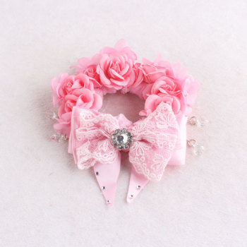 Pink silk rose flower velvet hair scrunchie bun wrap bracelet with ribbon bow for natural hair