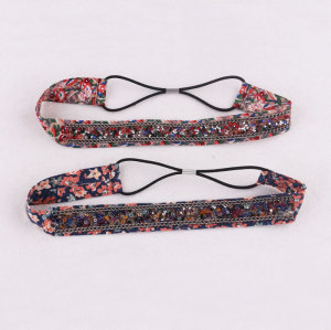 New boho up-do floral printed headbands with rhinestone