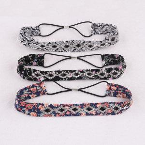 Women boho rhinestone cotton floral printed hairband