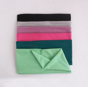 Unisex solid colour sport stretch head wide turban headbands