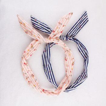 Floral print striped wire hair band head wrap hair tie twist bow headband scarf