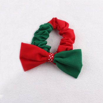 Cotton red and green splicing Christmas hair scrunchie festival hair tie wholesale