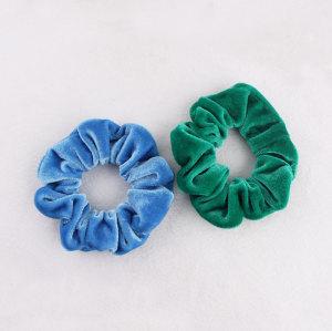 Blue/green boutique velvet hair bun wrap velvet hair scrunchie wholesale china
