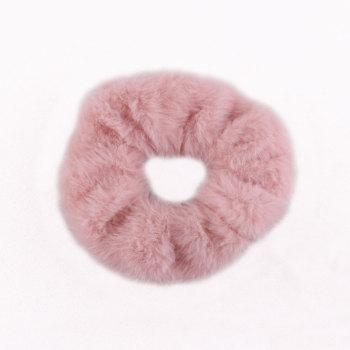 Soft faux fur hair scrunchies rabbit fur grip ponytail holder wholesale china